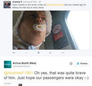 Arriva North West on Twitter   @AndrewF1981 Oh yes, that was quite brave of him. Just hope our passengers were okay  -