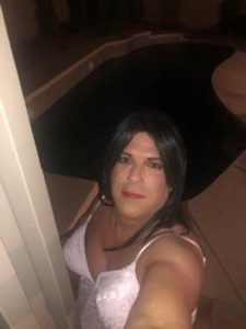 Sissy Faggot Portia outside by the pool