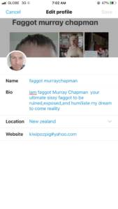 Faggot Murray Chapman is EXPOSED to All Social Media