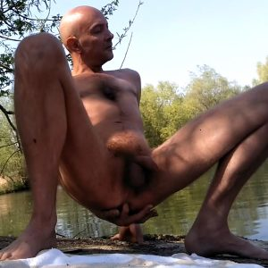 Masturbating by the river