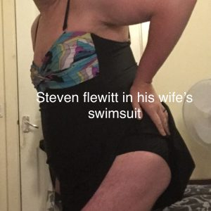 Steven flewitt the sissy fag dressing up in his wife's clothes for all to see
