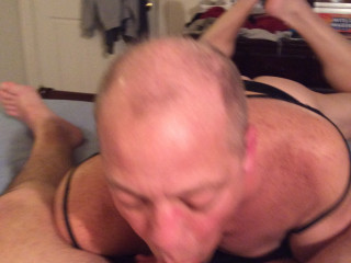 Doug Aube in panties between legs Sucking COCK